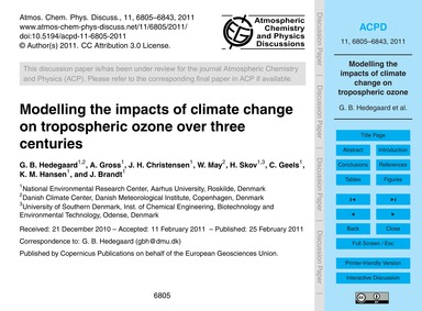 Modelling the Impacts of Climate Change ... by Hedegaard, G. B.