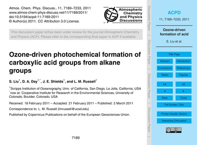 Ozone-driven Photochemical Formation of ... by Liu, S.