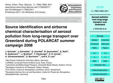 Source Identification and Airborne Chemi... by Schmale, J.