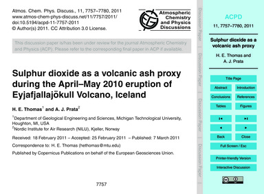 Sulphur Dioxide as a Volcanic Ash Proxy ... by Thomas, H. E.