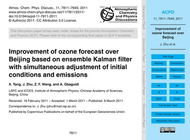Improvement of Ozone Forecast Over Beiji... by Tang, X.