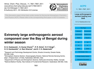 Extremely Large Anthropogenic Aerosol Co... by Kaskaoutis, D. G.