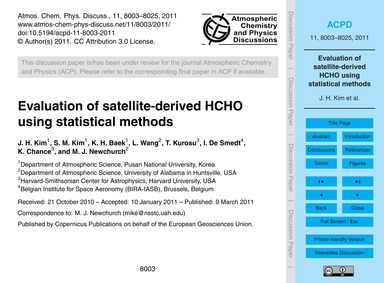 Evaluation of Satellite-derived Hcho Usi... by Kim, J. H.