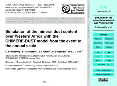 Simulation of the Mineral Dust Content O... by Schmechtig, C.