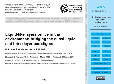 Liquid-like Layers on Ice in the Environ... by Kuo, M. H.