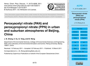 Peroxyacetyl Nitrate (Pan) and Peroxypro... by Zhang, J. B.