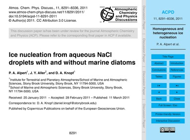 Ice Nucleation from Aqueous Nacl Droplet... by Alpert, P. A.