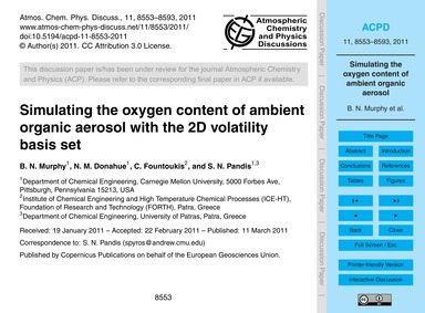 Simulating the Oxygen Content of Ambient... by Murphy, B. N.