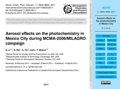 Aerosol Effects on the Photochemistry in... by Li, G.
