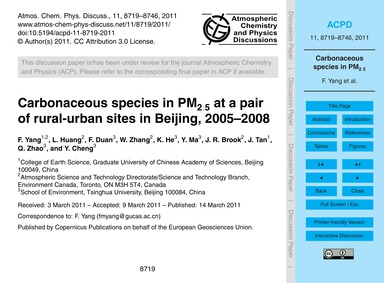 Carbonaceous Species in Pm2.5 at a Pair ... by Yang, F.