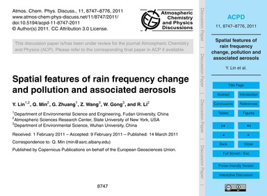 Spatial Features of Rain Frequency Chang... by Lin, Y.