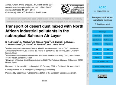 Transport of Desert Dust Mixed with Nort... by Rodríguez, S.
