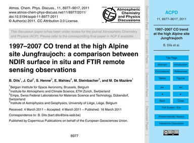 1997–2007 Co Trend at the High Alpine Si... by Dils, B.