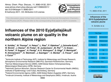 Influences of the 2010 Eyjafjallajökull ... by Schäfer, K.