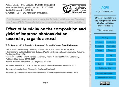 Effect of Humidity on the Composition an... by Nguyen, T. B.