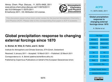 Global Precipitation Response to Changin... by Bichet, A.