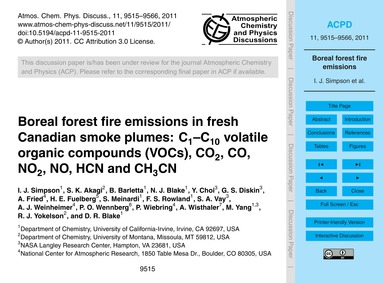 Boreal Forest Fire Emissions in Fresh Ca... by Simpson, I. J.