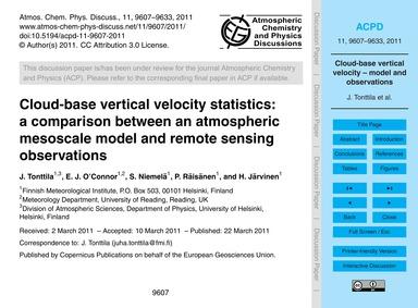 Cloud-base Vertical Velocity Statistics:... by Tonttila, J.