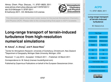 Long-range Transport of Terrain-induced ... by Katurji, M.