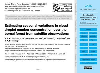 Estimating Seasonal Variations in Cloud ... by Janssen, R. H. H.