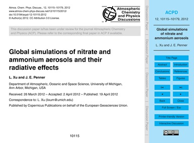 Global Simulations of Nitrate and Ammoni... by Xu, L.
