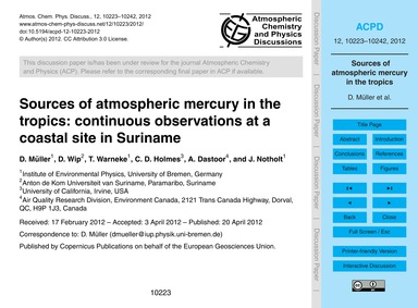 Sources of Atmospheric Mercury in the Tr... by Müller, D.