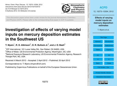 Investigation of Effects of Varying Mode... by Myers, T.