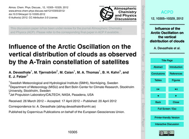 Influence of the Arctic Oscillation on t... by Devasthale, A.