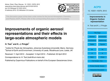 Improvements of Organic Aerosol Represen... by Tost, H.