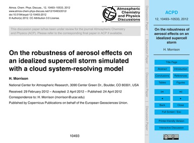 On the Robustness of Aerosol Effects on ... by Morrison, H.