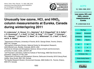 Unusually Low Ozone, Hcl, and Hno3 Colum... by Lindenmaier, R.