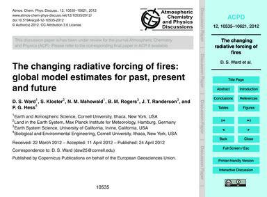 The Changing Radiative Forcing of Fires:... by Ward, D. S.