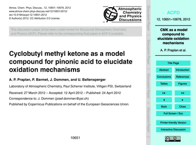 Cyclobutyl Methyl Ketone as a Model Comp... by Praplan, A. P.