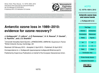 Antarctic Ozone Loss in 1989–2010: Evide... by Kuttippurath, J.