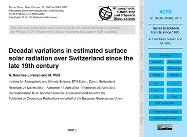 Decadal Variations in Estimated Surface ... by Sanchez-lorenzo, A.