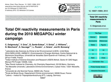 Total Oh Reactivity Measurements in Pari... by Dolgorouky, C.