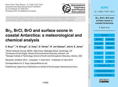 Br2, Brcl, Bro and Surface Ozone in Coas... by Buys, Z.