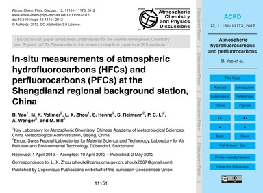 In-situ Measurements of Atmospheric Hydr... by Yao, B.