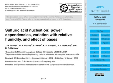 Sulfuric Acid Nucleation: Power Dependen... by Zollner, J. H.