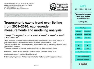 Tropospheric Ozone Trend Over Beijing fr... by Wang, Y.
