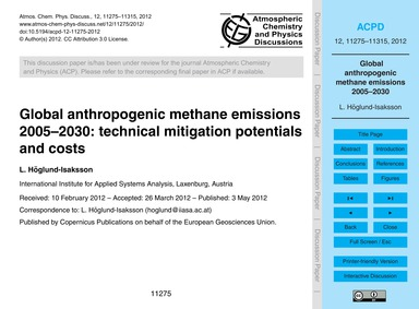 Global Anthropogenic Methane Emissions 2... by Höglund-isaksson, L.