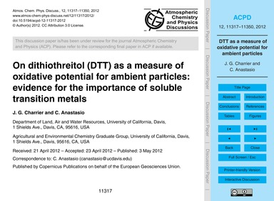 On Dithiothreitol (Dtt) as a Measure of ... by Charrier, J. G.