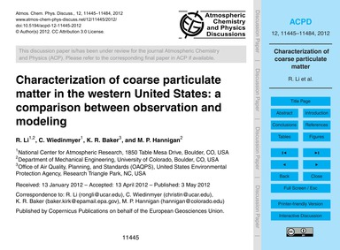 Characterization of Coarse Particulate M... by Li, R.