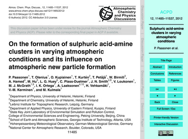 On the Formation of Sulphuric Acid-amine... by Paasonen, P.