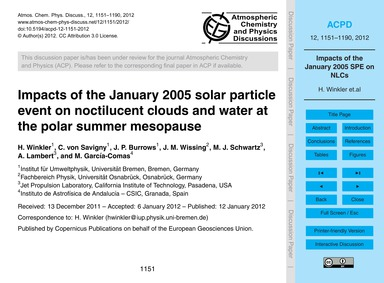 Impacts of the January 2005 Solar Partic... by Winkler, H.