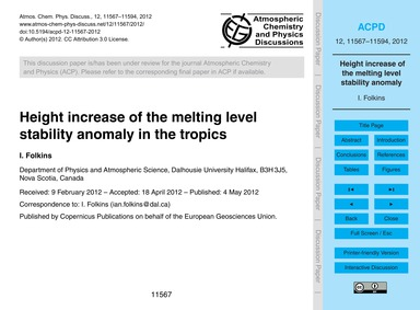 Height Increase of the Melting Level Sta... by Folkins, I.
