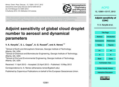 Adjoint Sensitivity of Global Cloud Drop... by Karydis, V. A.