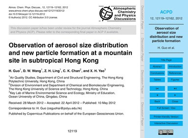 Observation of Aerosol Size Distribution... by Guo, H.