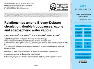 Relationships Among Brewer-dobson Circul... by Castanheira, J. M.
