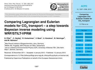 Comparing Lagrangian and Eulerian Models... by Pillai, D.